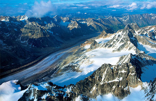 Přelet nad pohořím Alaska Range