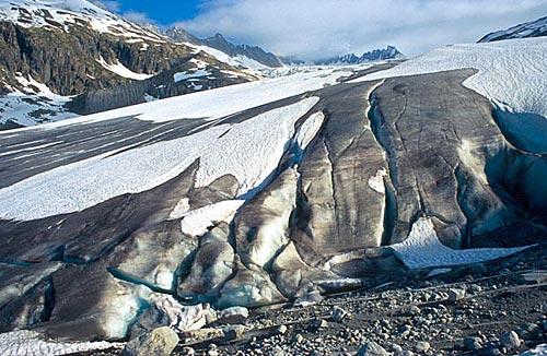 Mizející splaz ledovce Rhônegletscher