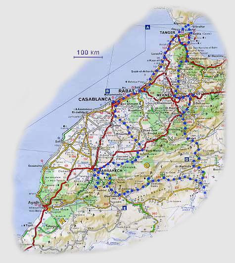 Mapa naší trasy